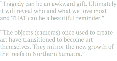 """Tragedy can be an awkward gift. Ultimately it will reveal who and what we love most and THAT can be a beautiful reminder."" ""The objects (cameras) once used to create art have transitioned to become art themselves. They mirror the new growth of the reefs in Northern Sumatra."""